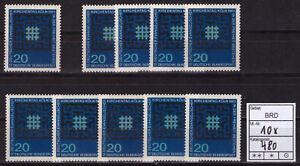 BUND-10x-Mi-Nr-480-Deutscher-Evangelischer-Kirchentag-Koeln