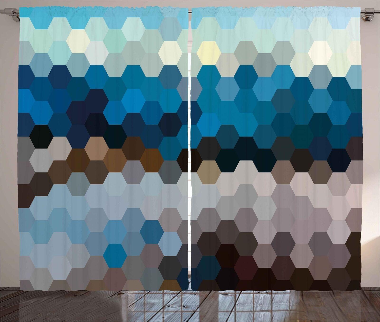 Conjunto de 2 Paneles Cortinas Moderno Abstracto Decoración 5 tamaños de ventana Cortinas