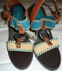 """New $60 size 6m women's CHINESE LAUNDRY Golden Leather upper sandals 3"""" Heels"""