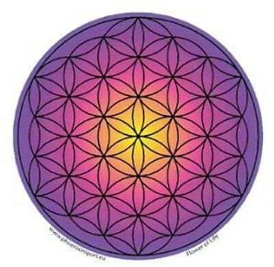 Mandala Arts Window Sticker Single Sided: Flower of Life Purple Pink 11.7cm
