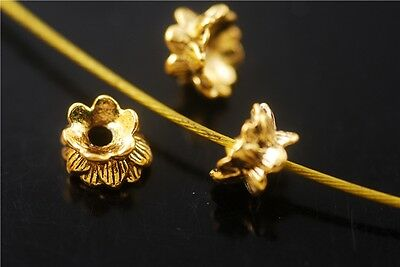 Bulk 50pcs Golden Metal Beads Loose Spacer Jewelry Charms Findings 5.5x9mm NEW