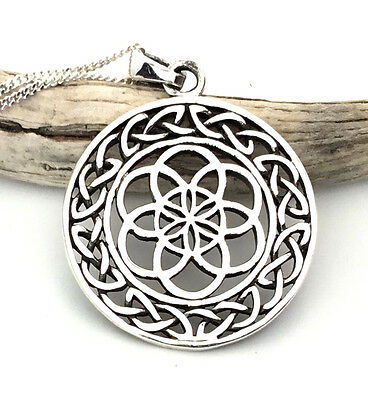 Sterling Silver Handcrafted Flower of Life Celtic Pendant and Chain Necklace