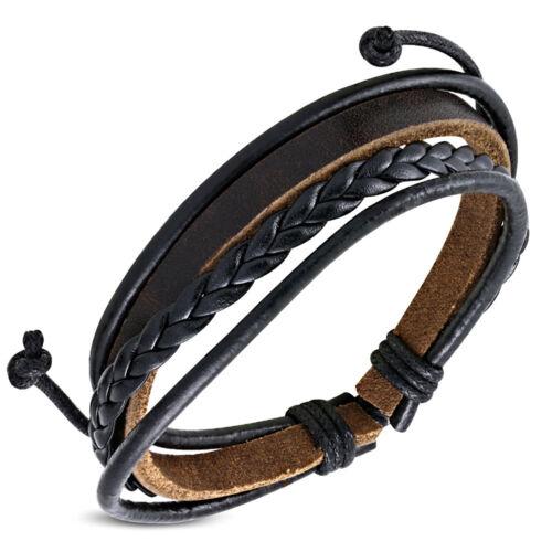 Multi wrap rope braided adjustable leather bracelet brown ZB0107 for men Zense