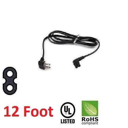 Lot of 10 12FT Foot TV AC Power Cord Samsung Angled 2 prong Figure 8 Right 90°
