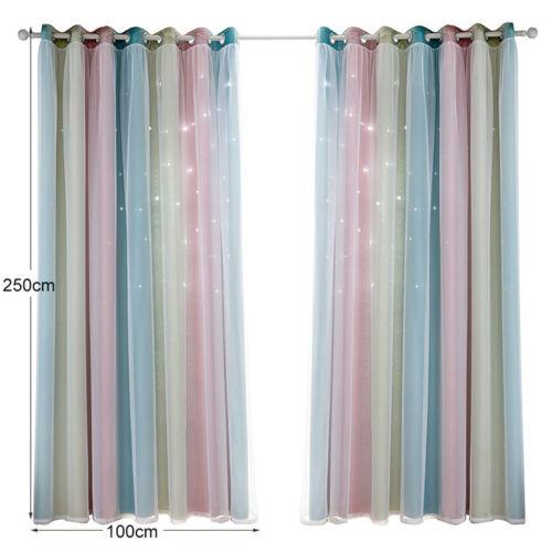 Double Curtais Starry Sky Gauze Curtains Blackout Floor Girls Bedroom Decoration