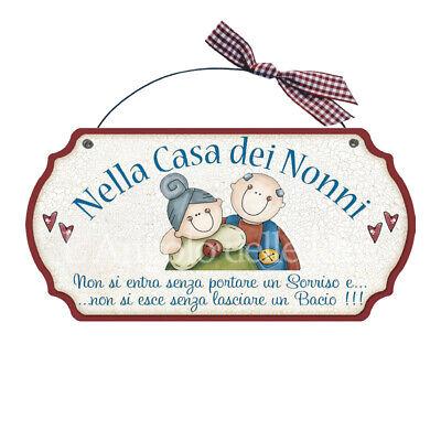 Camera Idea Regalo Made in Italy fuoriporta LAngolo delle Idee Targa Sagomata CASA dei Nonni Qui I Nipoti