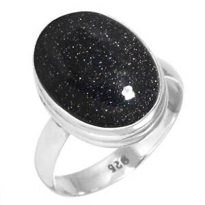 925-Sterling-Silver-Women-Jewelry-Blue-Sunstone-Ring-Size-6-5-Ly46304