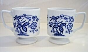 Vintage-Japan-Porcelain-China-Blue-Onion-Footed-Coffee-Cups-set-of-2