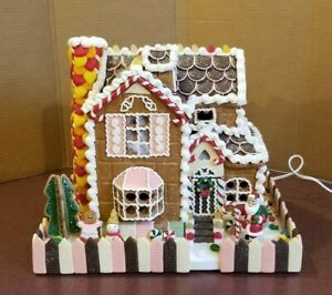 big sale c12e0 c9dae Details about Traditions Lighted Gingerbread House Christmas Candy Santa  Christmas Village