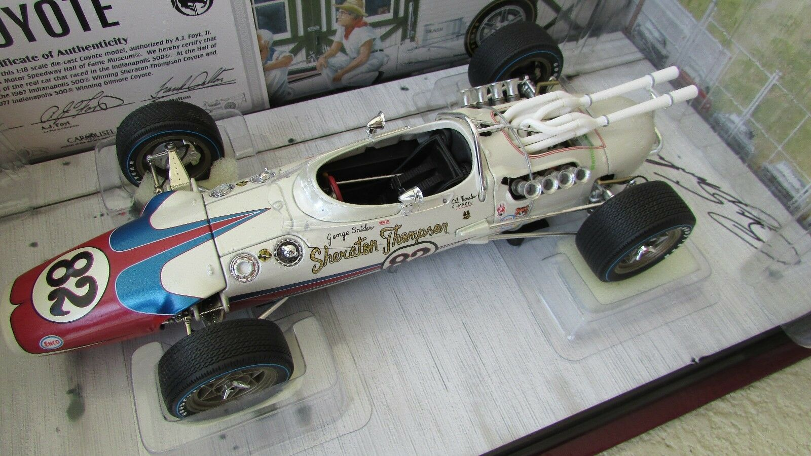 1:18 Carousel 1 1966 Indy 500 Foyt Coyote Voiture de Course Signé Conducteur Geo | Couleur Rapide