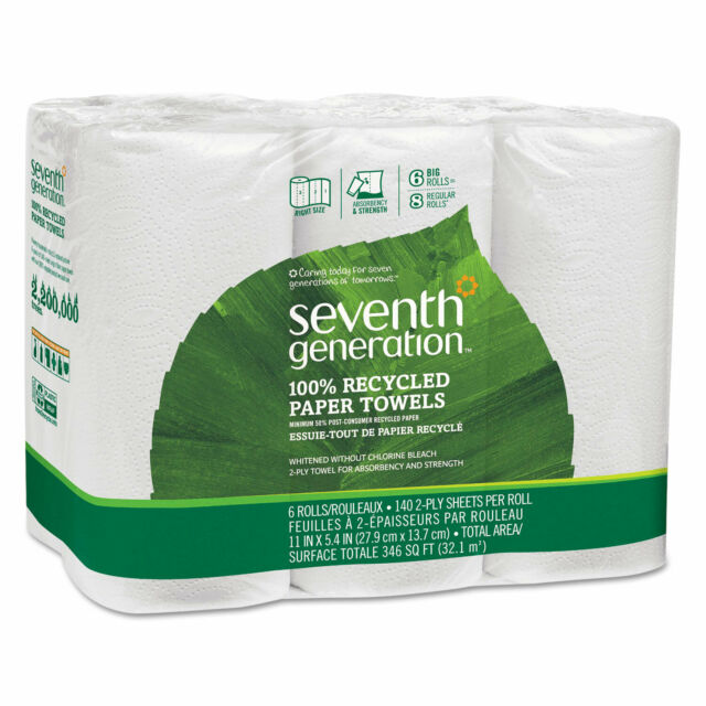 Seventh Generation 6 rolls 100/% Recycled Paper Towels 140 sheets