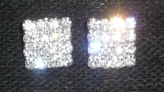 Sparkly Silver Square Diamante Crystal Diamond Rhinestone Earrings