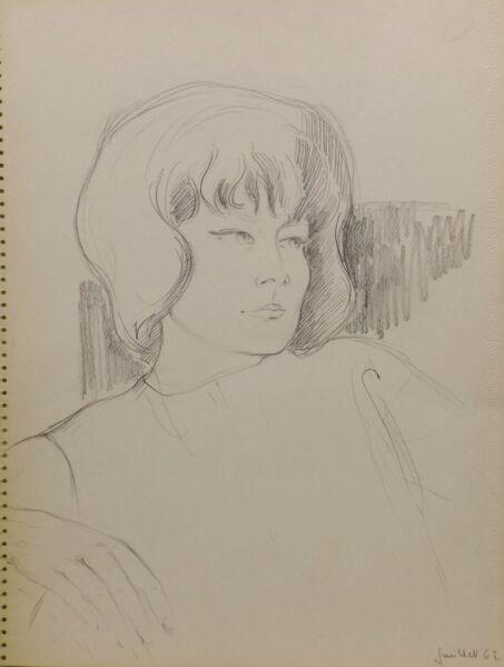 """ Niña/mujer Retrato 62"" Lápiz Nelly Meyer (lengelle) 1933 -2014"
