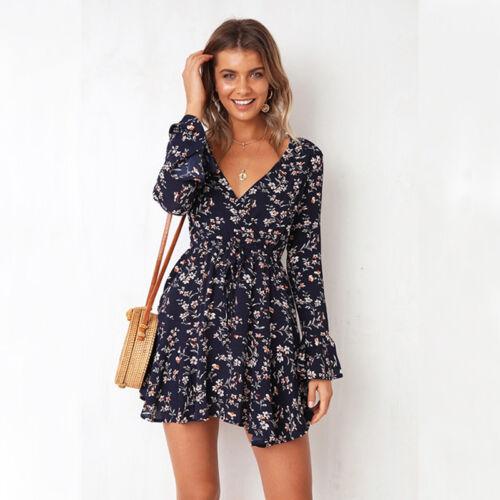 Boho Women/'s V Neck Ruffle Wrap Dress Ladies Summer Beach Holiday Mini Sundress