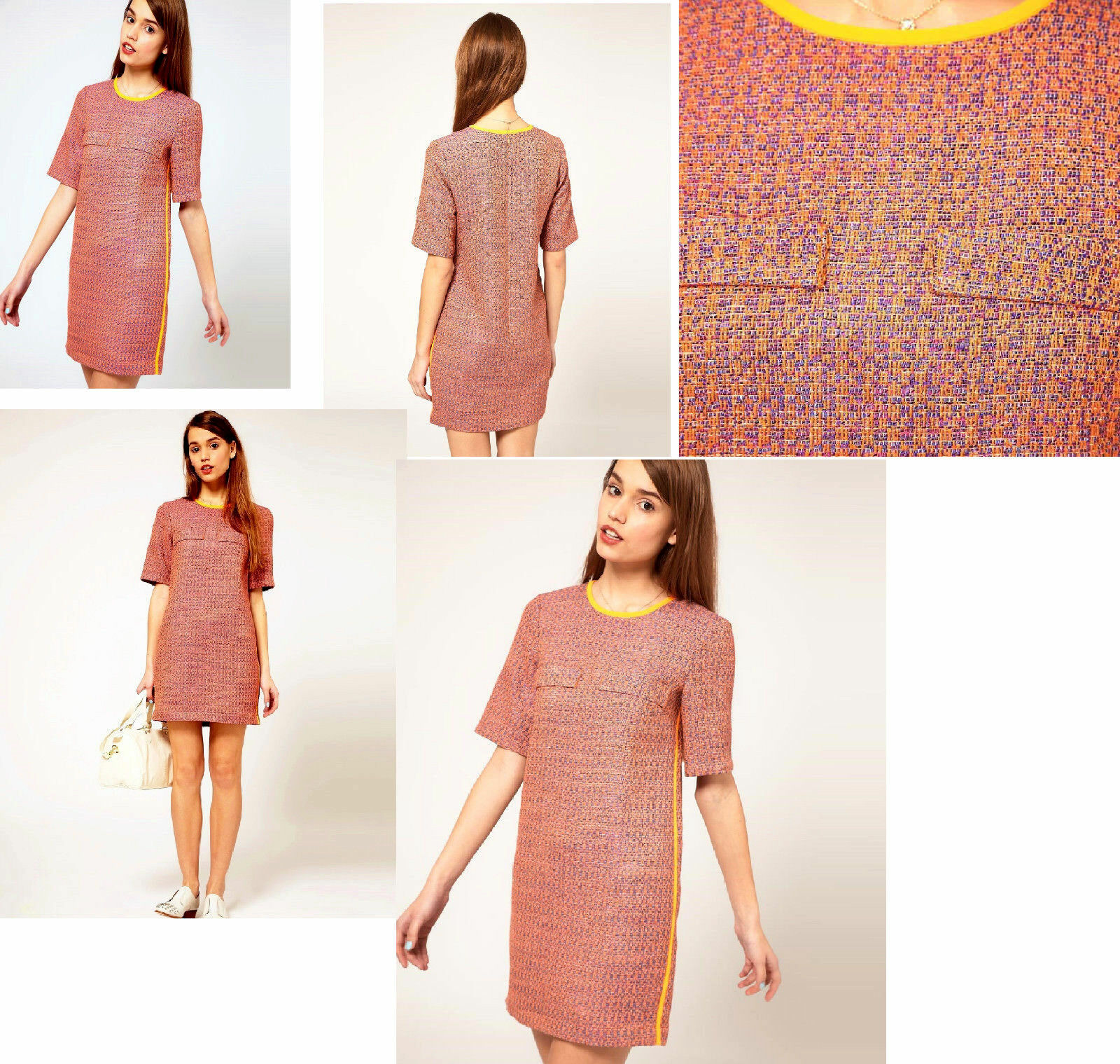 NWT Designer Premium French Boucle` Shift DRESS with Neon Trim ASOS Fully Lined