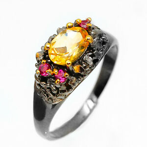 Antique-Vintage-Natural-Citrine-Gemstone-925-Sterling-Silver-Gift-Ring-RVS72
