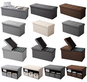 Sitzhocker-Sitzbank-Aufbewahrungsbox-Truhen-Stuhl-Hocker-faltbar-Leinen-MDF-765