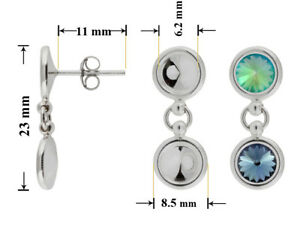 Sterling-Silver-Dangle-Stud-Posts-23x11mm-for-Gluing-Rivoli-1122-Crystals