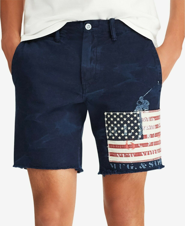 New Mens Polo Ralph Lauren Straight Fit 8  USA Flag Aviator Navy Shorts 36