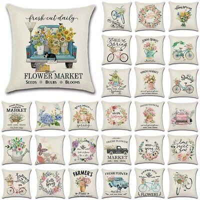 "18/"" Flower Market Spring Floral Throw Pillow Cover Linen Decorative Cushion Case"