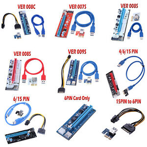 af99d1be04e PCI-E Riser Card 1x to 16x USB 3.0 VER 008C 008S 009S Mining ...