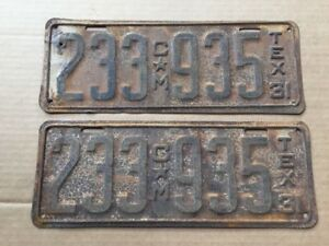 1931-TEXAS-LICENSE-PLATES-PLATE-COMMERCIAL-PICKUP-TRUCK-ORIGINAL-31-HOT-ROD