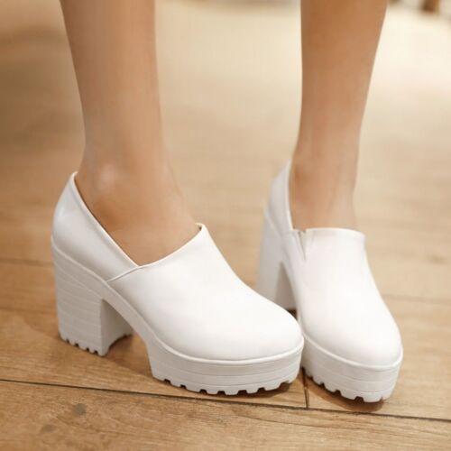 Womens Platform Block Square Heel Round Toe Slip On Oxfords Fashion Shoes Size 9