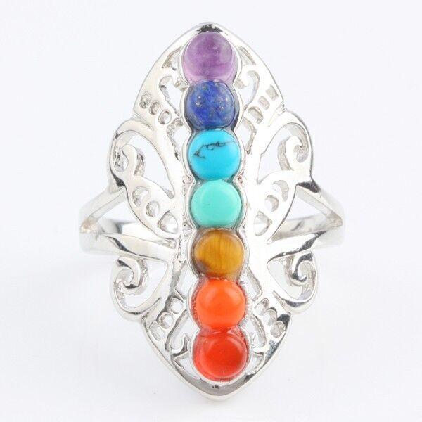 7 Chakra Healing Crystal Quartz Gemstone Butterfly Finger Ring Vintage Reiki