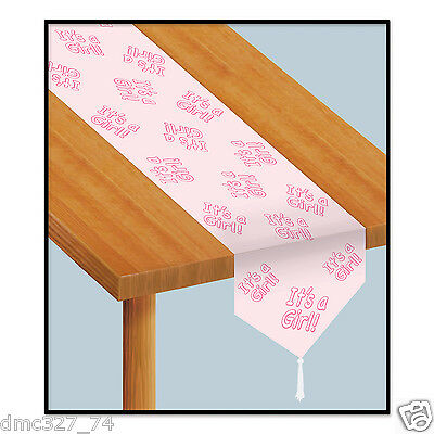 1 BABY SHOWER Party Tabletop Decoration Paper Pink IT'S A GIRL TABLE RUNNER