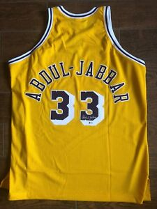fd5f5115e73 Kareem Abdul-Jabbar Signed LA Lakers Authentic M&N Yellow Jersey ...