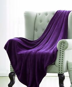 PURPLE-SOLID-VERSATILE-SUPER-SOFT-WARM-MICROPLUSH-SMALL-THROW-BLANKET