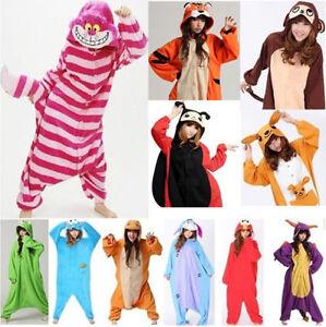 Damen Herren Tier Onesie Karneval Fasching Kostum Einhorn Panda