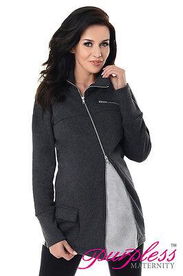 Purpless Maternity Across Body Zips Adjustable Pregnancy Sweatshirt Hoodie 9055 AusgewäHltes Material