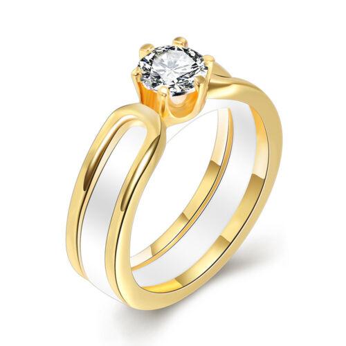 Black//White Ceramic Ring Wedding Band Men Women Fit Engagement Jewelry Size 6-10