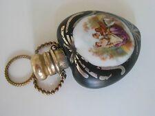 Fine antique Victorian heart shaped porcelain perfume/scent bottle chatelaine.