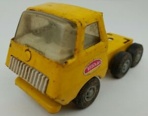 Vintage Tonka Mini Pressed Steel Yellow Semi Tractor Trailer Truck