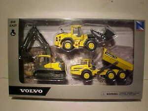 3-pack-Volvo-Wheel-Loader-Excavator-Dump-Truck-Diecast-1-72-New-Ray-5-inch-32095