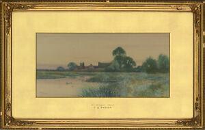 Frederick-Gordon-Fraser-Early-20th-Century-Watercolour-Near-Holywell-Hunts