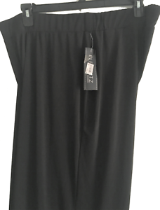 Elementz Womens Black Pants Stretch Wide Leg Pull On Elastic Waist NWT 3X Petite