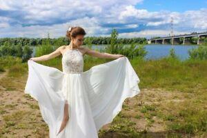 Vintage Ivory Brautkleid Hochzeitskleid Standesamt Kleid Schlitz Schleppe Kurz Ebay