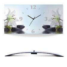 Artland Wanduhr ohne Tickgeräusche Funk Alu 60x30 cm Zen Blumen Lilie Asien S7LY