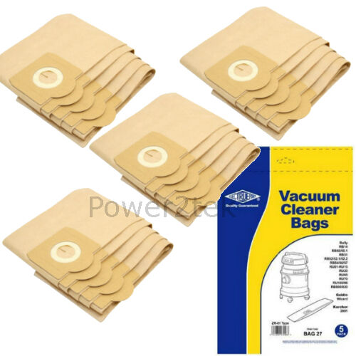 20 x ZR81 Vacuum Bags for Aquavac Super 30 Super 40 600 Hoover NEW