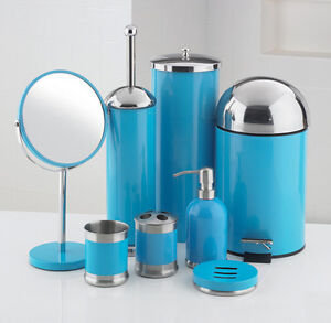 8 Piece Bathroom Accessories Set Blue Ebay