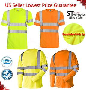 Hi-Vis-T-Shirt-ANSI-Class-3-Reflective-Safety-Lime-Short-Long-Sleeve-Road-Work