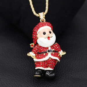 Betsey-Johnson-Red-Crystal-Rhinestone-Santa-Claus-Pendant-Chain-Necklace-Gift
