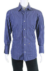 Dsquared2-Mens-Button-Down-Collared-Plaid-Shirt-Blue-Cotton-Striped-Size-IT-56