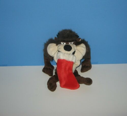 "Warner Studio Store 8"" Taz Devil Looney Tunes Eating Christmas Stocking Plush"