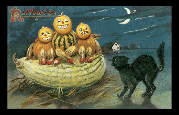 HALLOWEEN NIGHT SCARY PUMPKINS schwarz CAT CRESCENT MOON USA VINTAGE POSTER REPRO