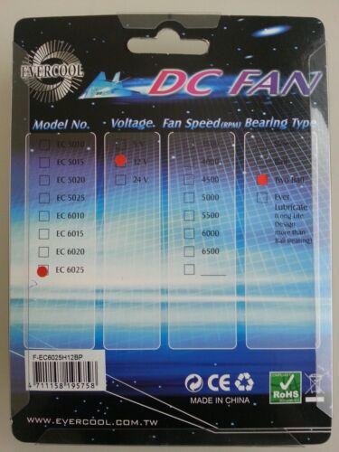 EverCool 60mm x 25mm DC 12V Ball Bearing Fan  EC6025H12BP