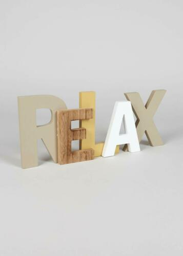 41cm x 17cm x 2cm. Novelty Yet Rustic Relax Letter Wooden Sign Dimensions